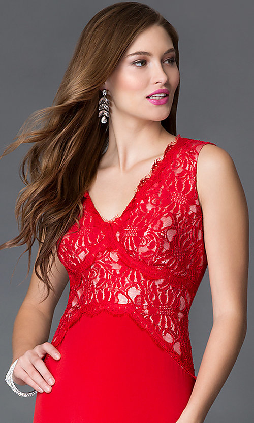 Image of long red v-neck sleeveless lace bodice dress Style: SG-ASWiF1AHA Detail Image 1
