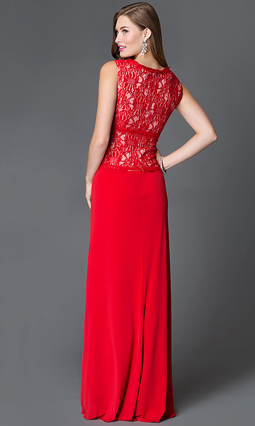 Image of long red v-neck sleeveless lace bodice dress Style: SG-ASWiF1AHA Back Image