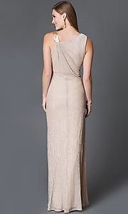 Image of sleeveless asymmetrical neckline side ruched gold long dress Style: SG-ASAEE1AFB Back Image