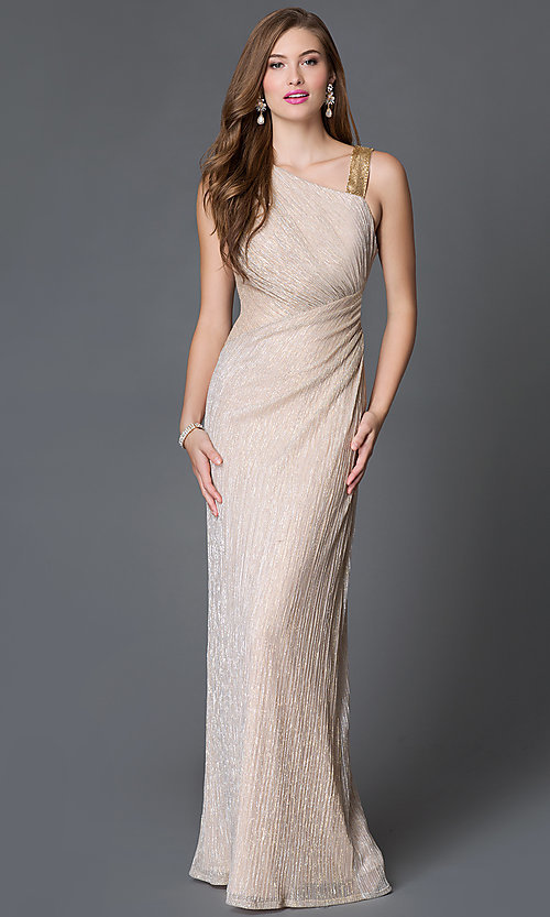 Image of sleeveless asymmetrical neckline side ruched gold long dress Style: SG-ASAEE1AFB Front Image