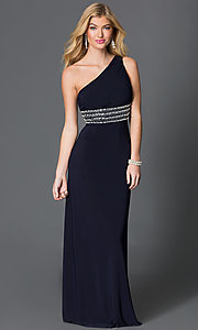 Image of long one shoulder sheer back black dress with jewel embellished waist  Style: BN-55110 Front Image