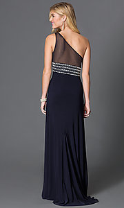 Image of long one shoulder sheer back black dress with jewel embellished waist  Style: BN-55110 Back Image