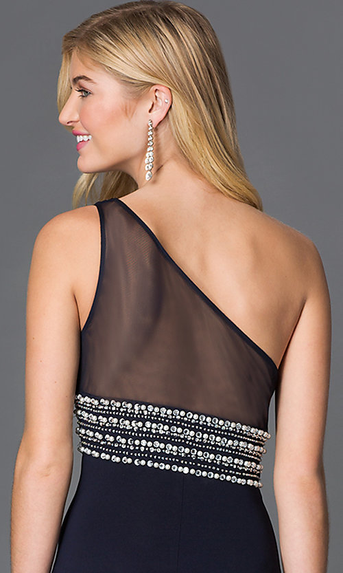 Image of long one shoulder sheer back black dress with jewel embellished waist  Style: BN-55110 Detail Image 1