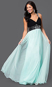 Image of floor length two tone sequin embellished sleeveless v-neck dress Style: BN-55143 Front Image