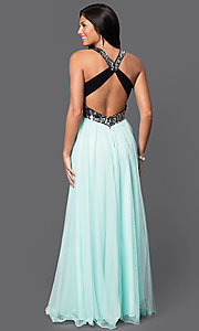 Image of floor length two tone sequin embellished sleeveless v-neck dress Style: BN-55143 Back Image