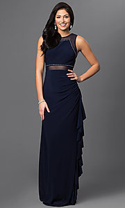Long Navy Blue Illusion Prom Dress with Ruched Side by Blondie Nites