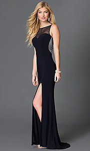 Blondie Nites Long Sleeveless Navy Blue Prom Dress