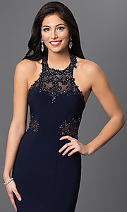 Image of long illusion sleeveless halter dress in Navy Blue Style: BN-56018 Detail Image 1