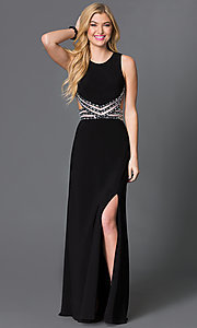 Open Back Long Sleeveless Prom Dress with Jewel Detailing by Blondie Nites