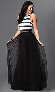 Mock Two Piece T-Back Floor Length Dress by Blondie Nites