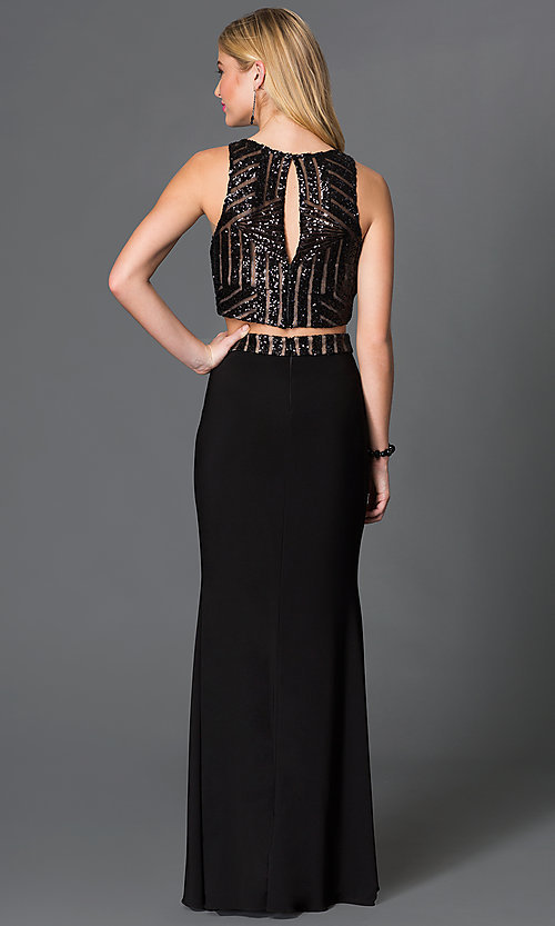 Image of black two piece sequin embellished crop top floor length dress Style: BN-56143 Back Image