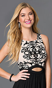 Image of black and nude long sleeveless dress with lace bodice Style: BN-56159 Detail Image 1