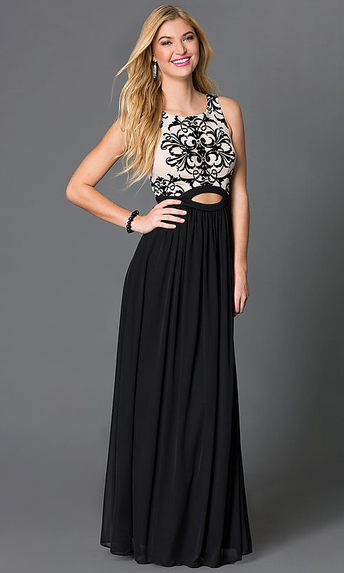 Image of black and nude long sleeveless dress with lace bodice Style: BN-56159 Front Image