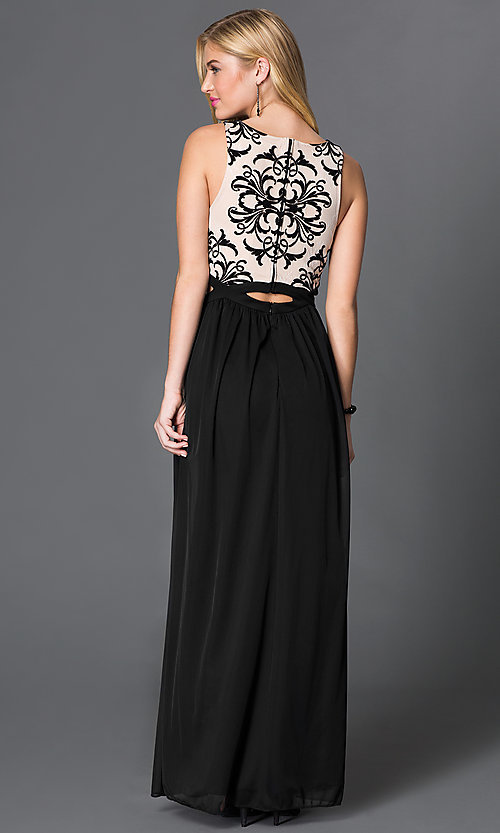 Image of black and nude long sleeveless dress with lace bodice Style: BN-56159 Back Image