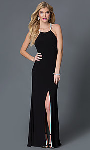 Image of sleeveless open back jewel embellished high neck long black dress Style: BA-A17641 Front Image