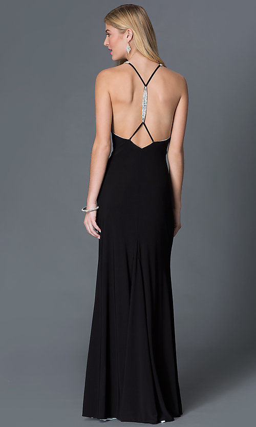 Image of sleeveless open back jewel embellished high neck long black dress Style: BA-A17641 Back Image