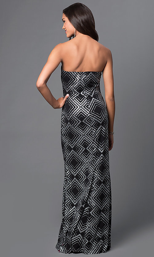 Image of glitter diamond print strapless sweetheart dress Style: JU-47051 Back Image