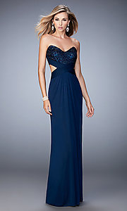 Long Open Back Strapless Prom Dress by La Femme
