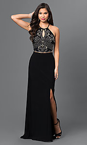 Black Two-Piece Dress with Open Back