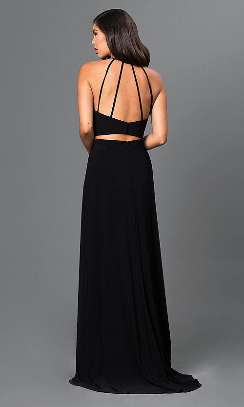 Image of black two-piece dress with open back. Style: MO-12166 Back Image