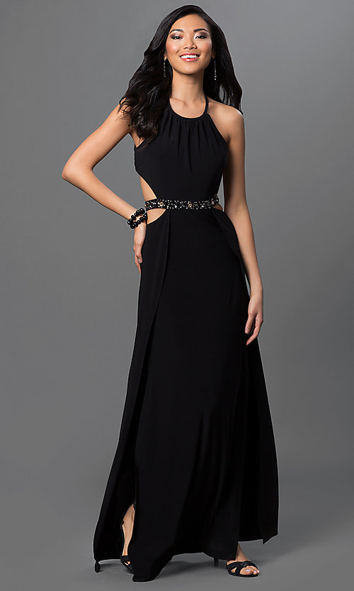 Image of long open-back prom dress by Morgan Style: MO-12205 Detail Image 1