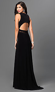 Image of Morgan floor-length prom dress with sequin top  Style: MO-12210 Back Image