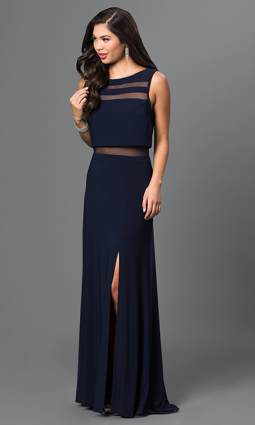 Cheap Mock Two-Piece Prom Dress in Navy - PromGirl
