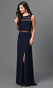 Image of navy prom dress by Morgan with Illusion Accents. Style: MO-21402 Front Image