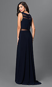 Image of navy prom dress by Morgan with Illusion Accents. Style: MO-21402 Back Image