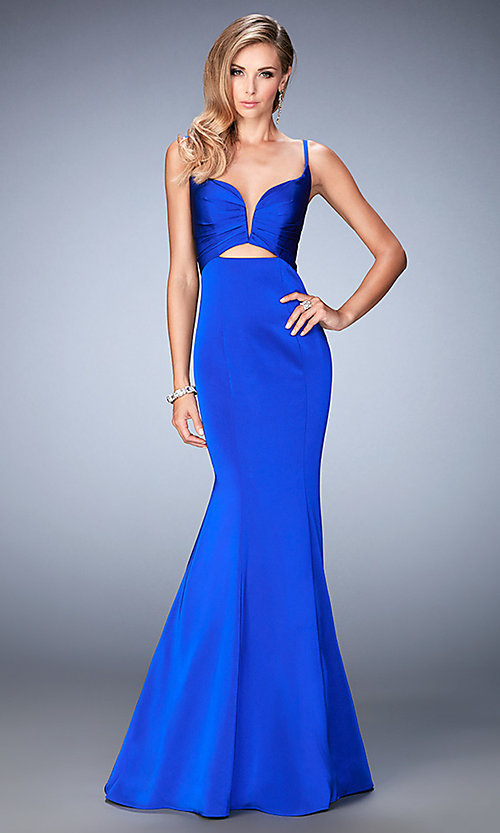 Image of open-back sweetheart mermaid prom dress by La Femme Style: LF-22747 Front Image