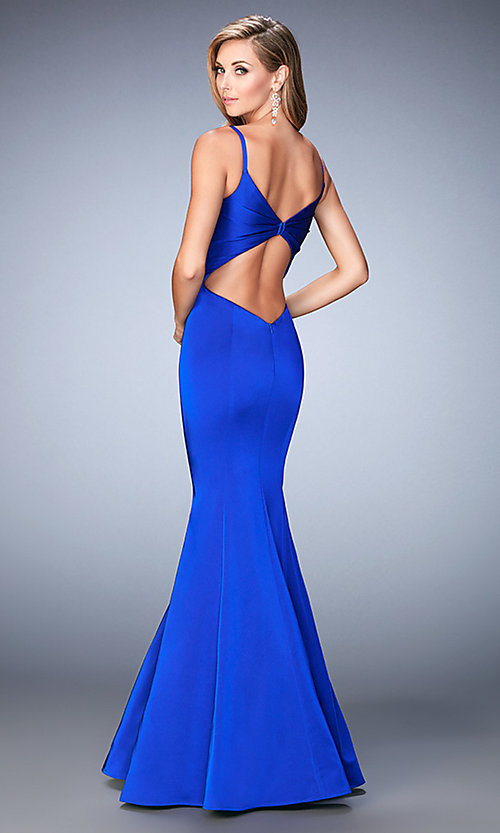 Image of open-back sweetheart mermaid prom dress by La Femme Style: LF-22747 Back Image