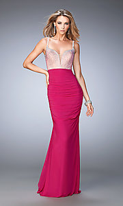 Long Ruched Prom Dress with Beaded Top by La Femme