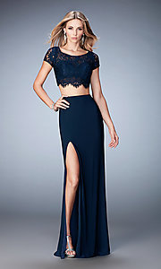 Two Piece La Femme Dress with Lace Top
