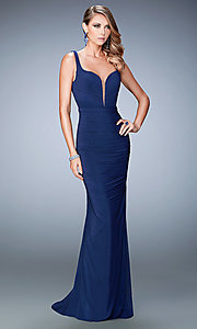 Image of floor length sleeveless ruched sweetheart dress Style: LF-22475 Front Image