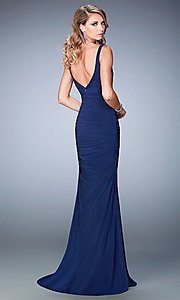 Image of floor length sleeveless ruched sweetheart dress Style: LF-22475 Back Image