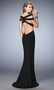 Image of long open back off the shoulder dress  Style: LF-22728 Back Image