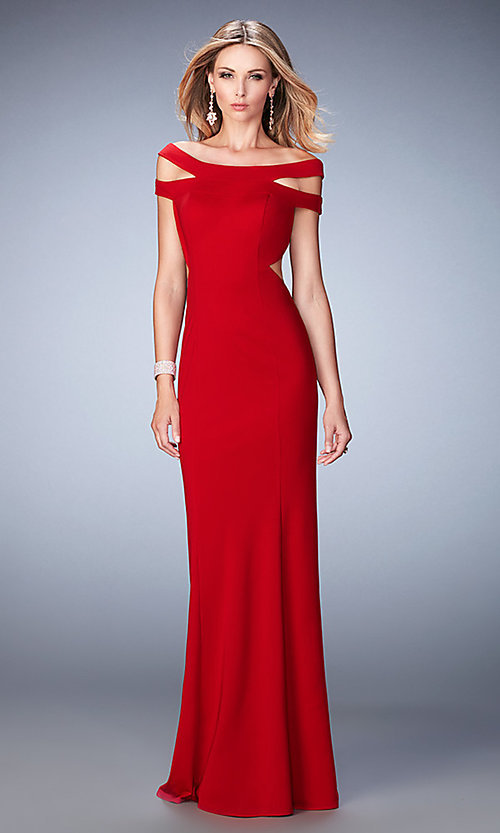 Image of long open back off the shoulder dress  Style: LF-22728 Front Image