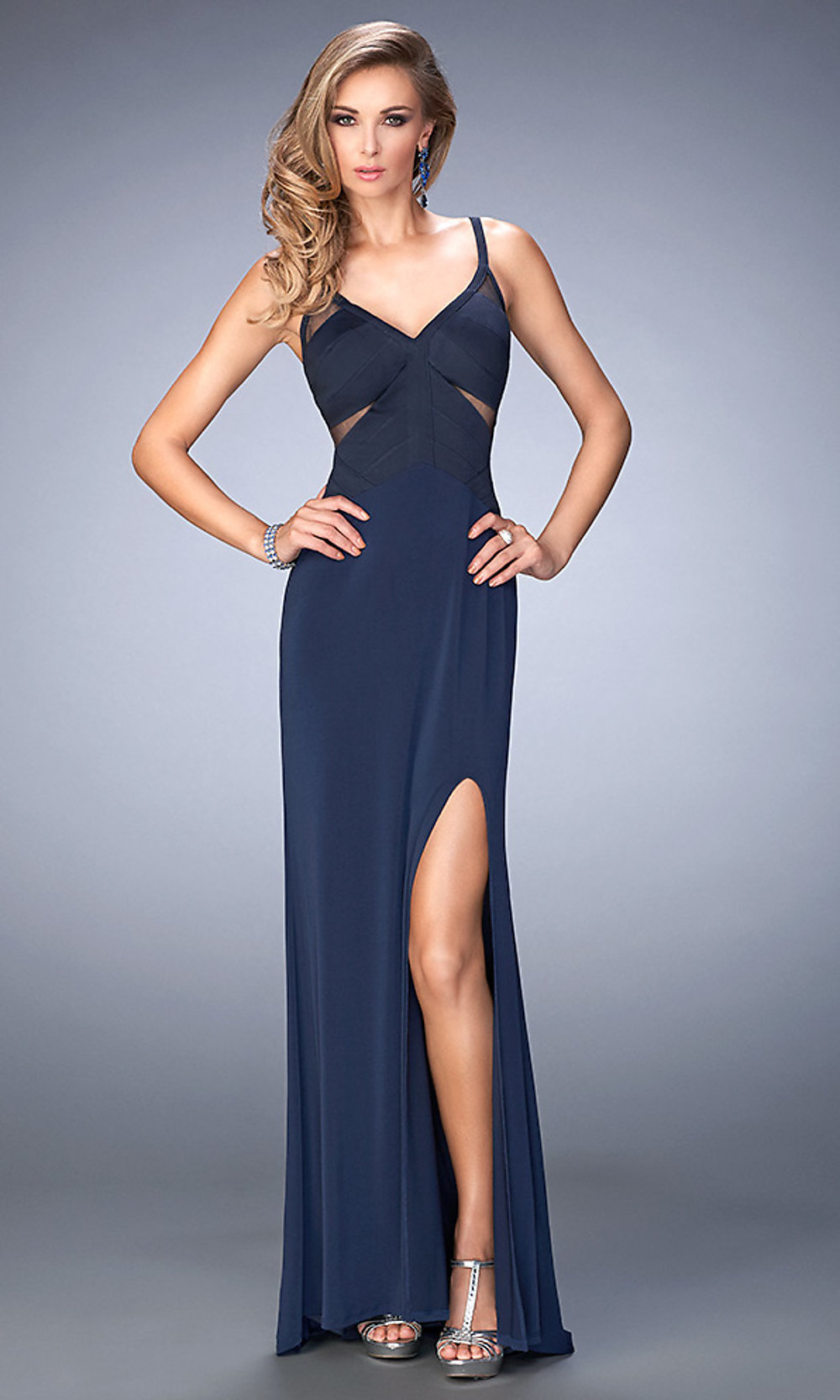 Celebrity prom dresses sexy evening gowns promgirl for What colour shoes with navy dress for wedding