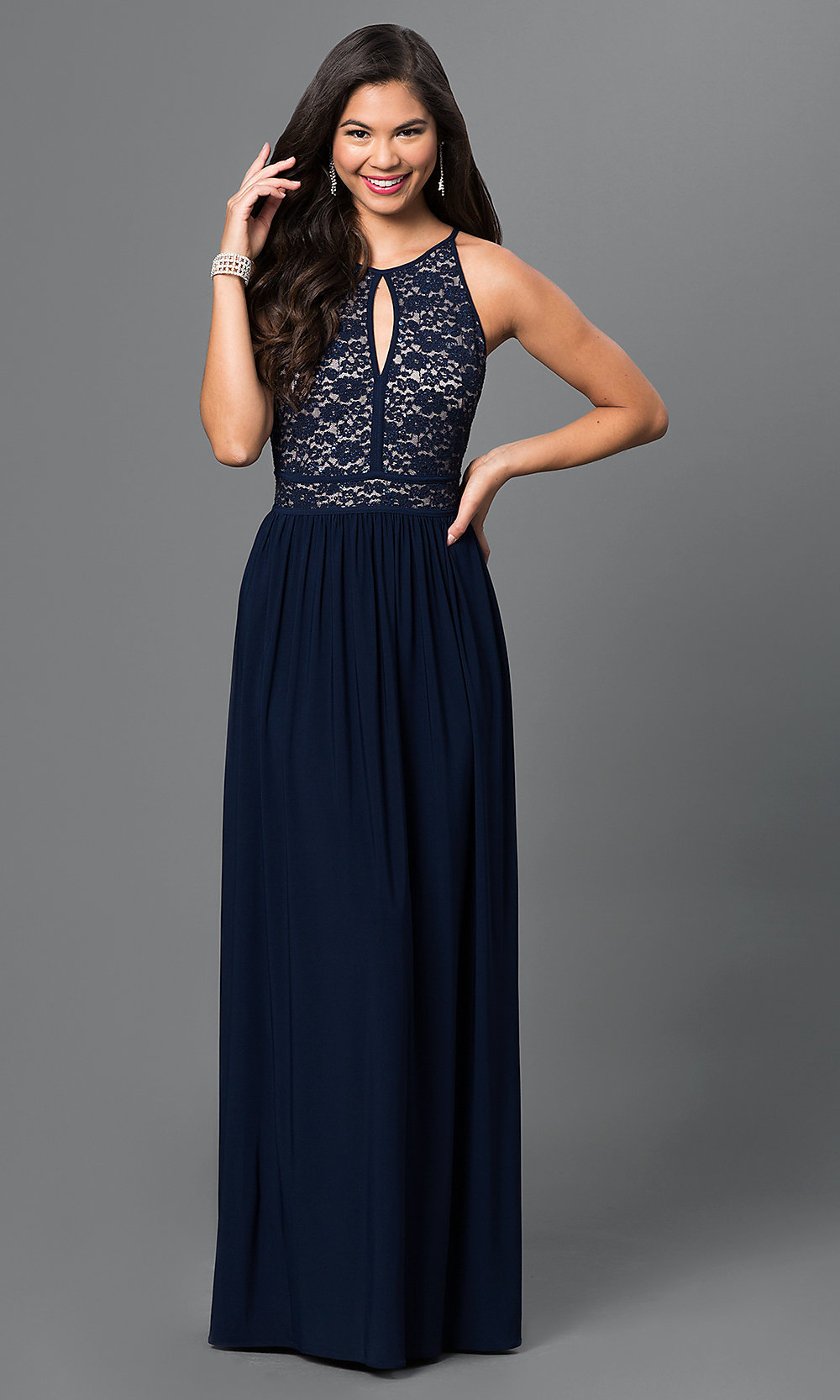 Navy-Blue Lace-Top Morgan Prom Dress - PromGirl