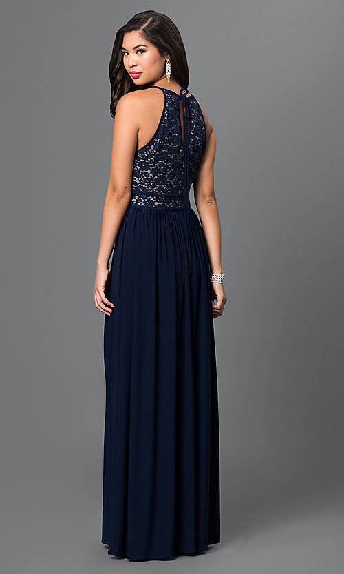 Image of long Morgan prom dress with lace top.  Style: MO-12089 Back Image
