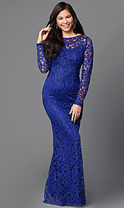 Sequin Embellished Long Sleeve Lace Dress by Marina
