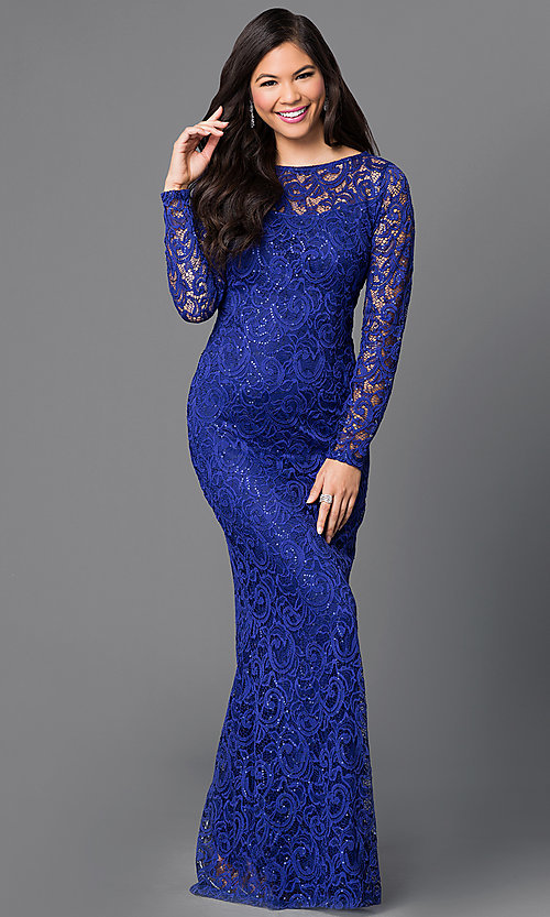 Sequin Embellished Long Sleeve Lace Dress-PromGirl