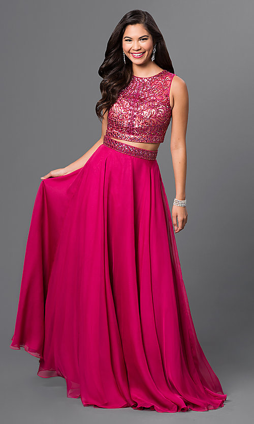 Image of long two-piece pink prom dress with beaded top Style: MF-E1965 Front Image