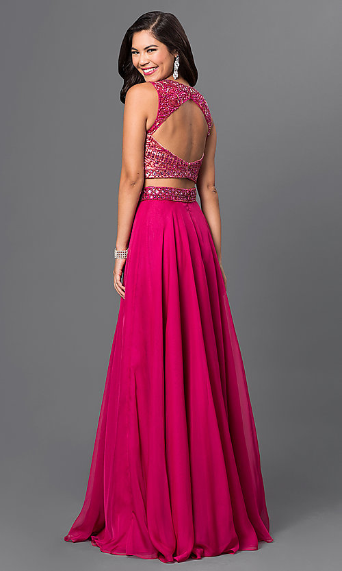 Image of long two-piece pink prom dress with beaded top Style: MF-E1965 Back Image