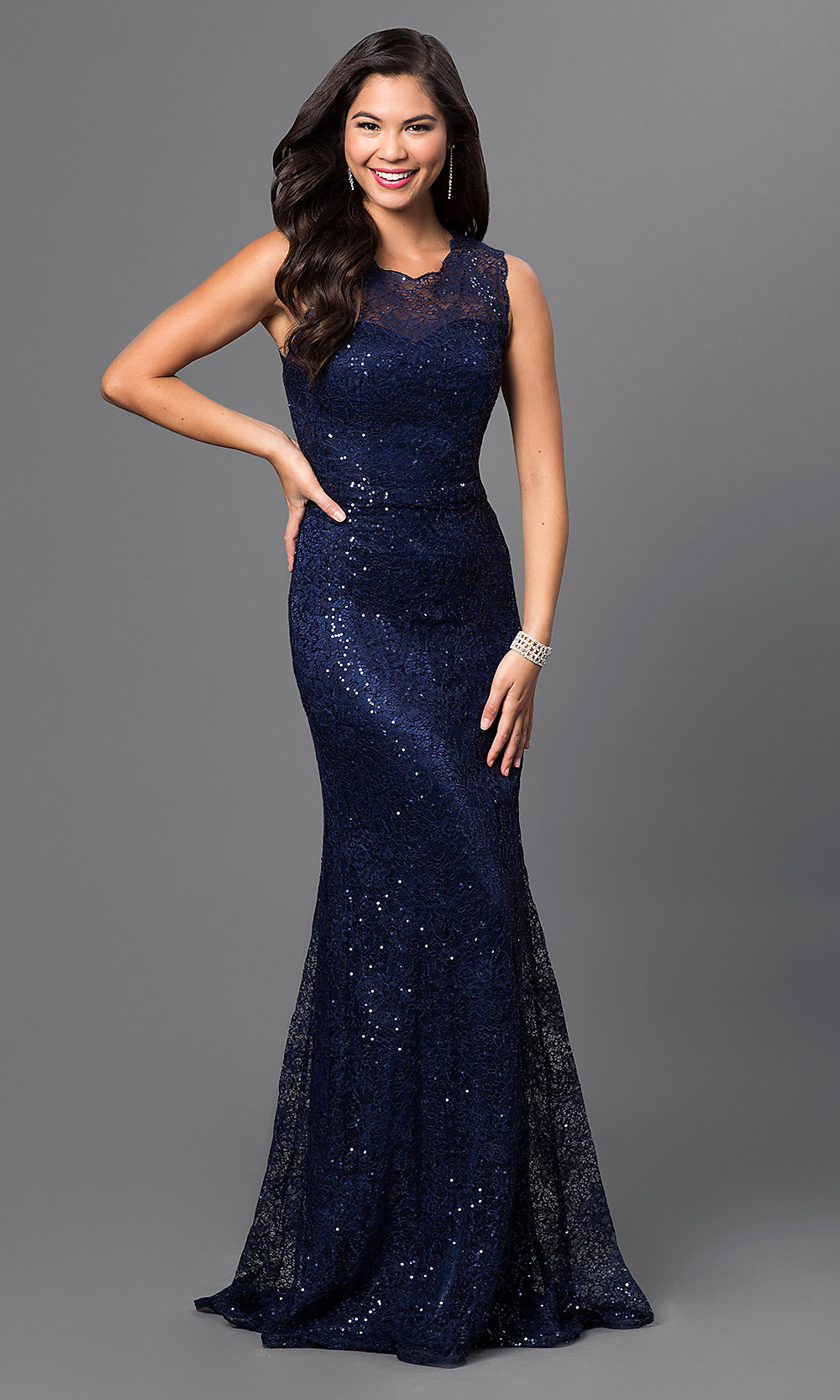 Long navy cocktail dress