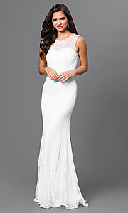 Image of long sleeveless sequin-embellished lace dress Style: MF-E1822 Detail Image 1