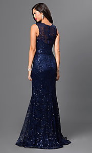 Image of long sleeveless sequin-embellished lace dress Style: MF-E1822 Back Image