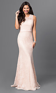 Image of long sleeveless sequin-embellished lace dress Style: MF-E1822 Front Image