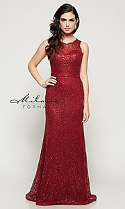 Image of long sleeveless sequin-embellished lace dress Style: MF-E1822 Detail Image 3