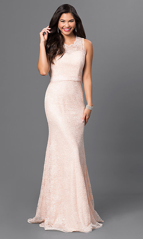 Image of long sleeveless sequin-embellished lace dress Style: MF-E1822 Detail Image 2